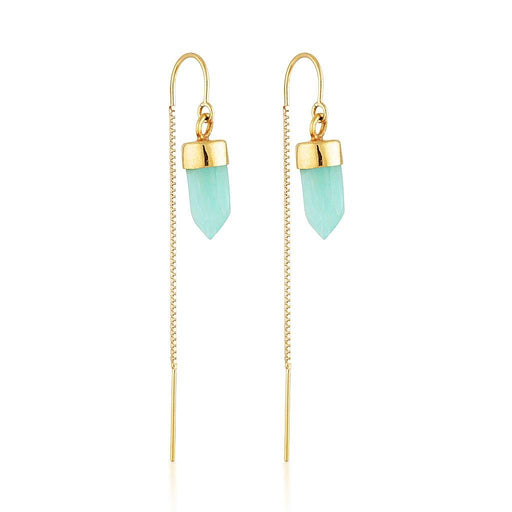Gold Gemstone Spike Threaders - Amazonite