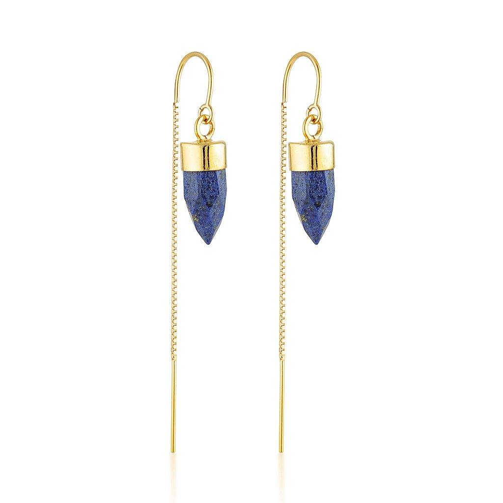 Gold Gemstone Spike Threaders - Lapis Lazuli