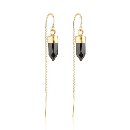 Gold Gemstone Spike Threaders - Black Spinel