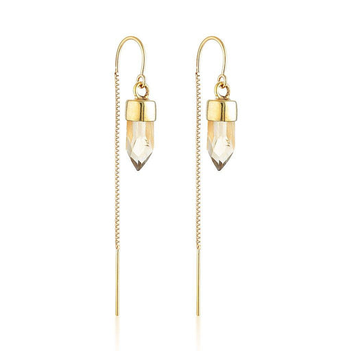 Gold Gemstone Spike Threaders - Citrine