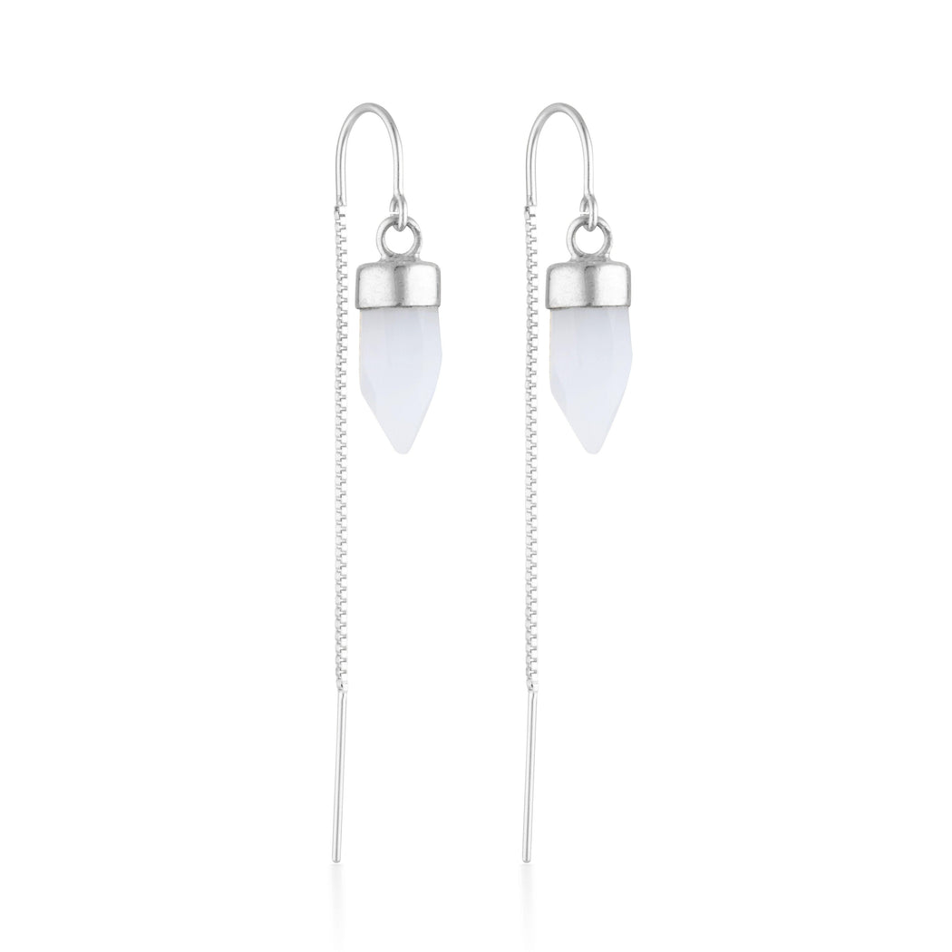 Silver Gemstone Spike Threaders - Chalcedony