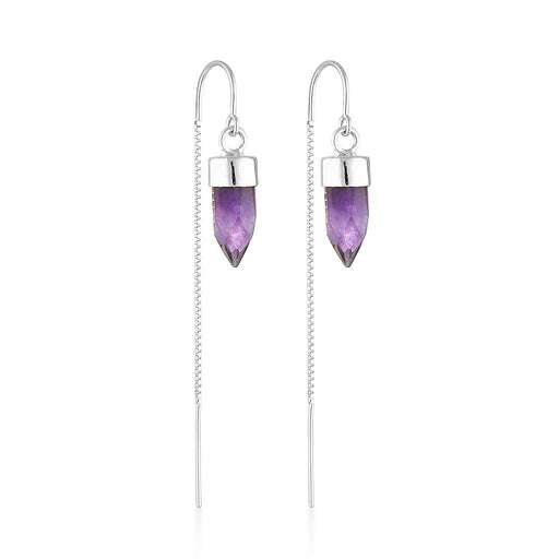 Silver Gemstone Spike Threaders - Amethyst