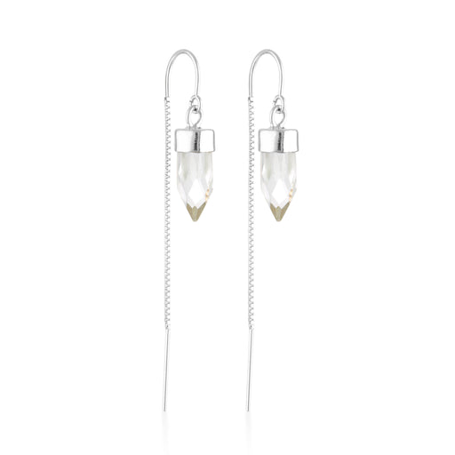 Silver Gemstone Spike Threaders - Clear Quartz