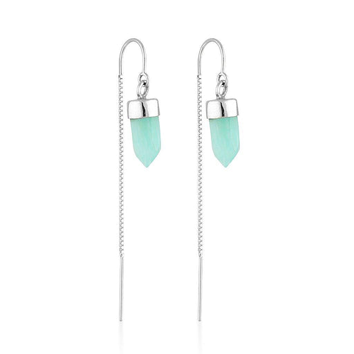Silver Gemstone Spike Threaders - Amazonite