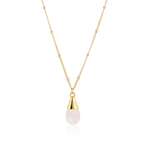 Unicorn Tear Necklace - Gold Rose Quartz