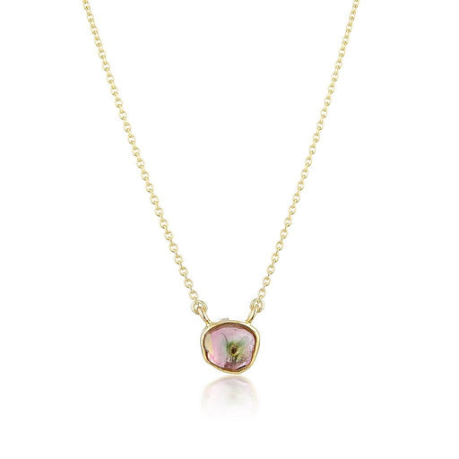 14k Watermelon Tourmaline Slice Pendant