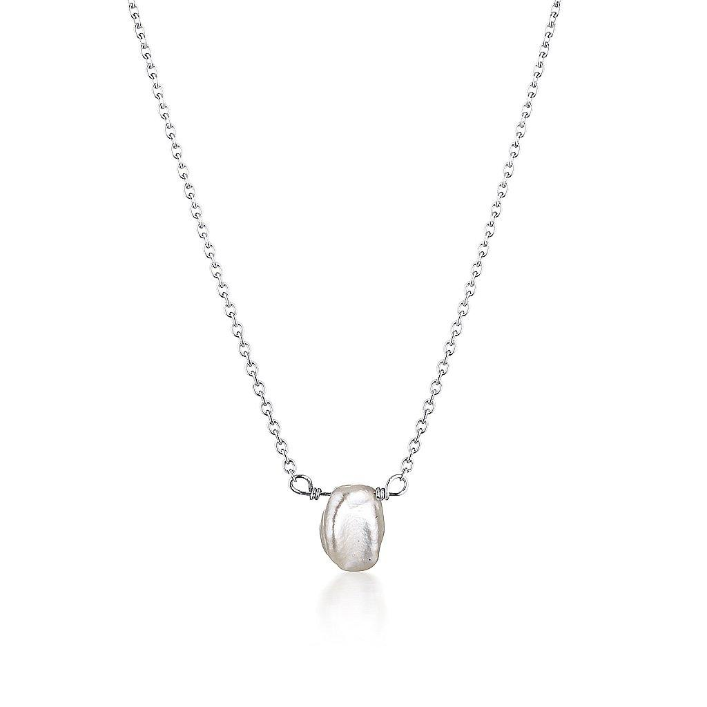 Keshi Pearl Necklace - Silver