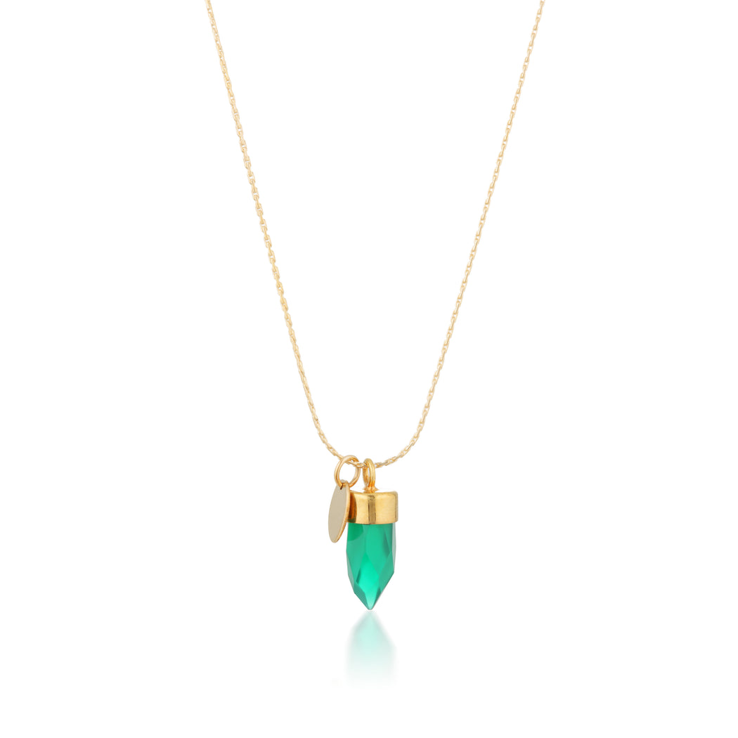Stone And Tag Necklace Gold Green Onyx