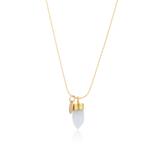 Stone And Tag Necklace Gold Chalcedony