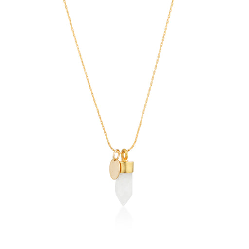 Stone And Tag Necklace Gold Moonstone