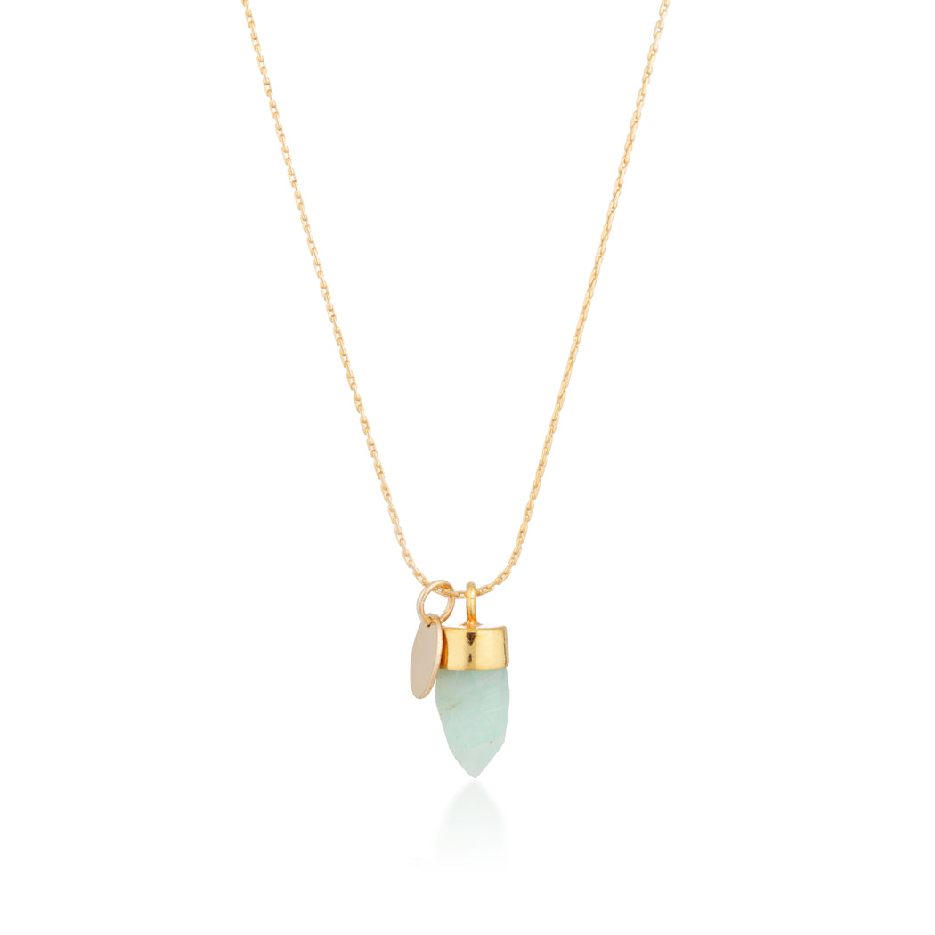 Stone And Tag Necklace Gold Amazonite