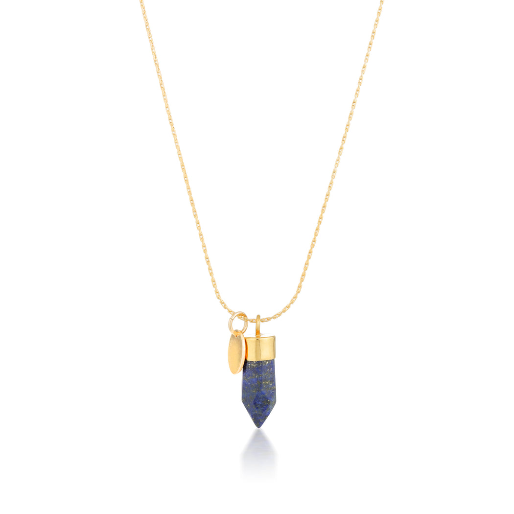 Stone And Tag Necklace Gold Lapis Lazuli