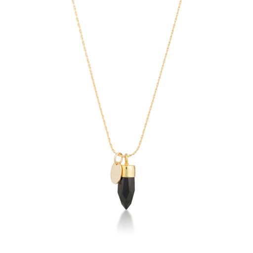 Stone And Tag Necklace Gold Black Spinel