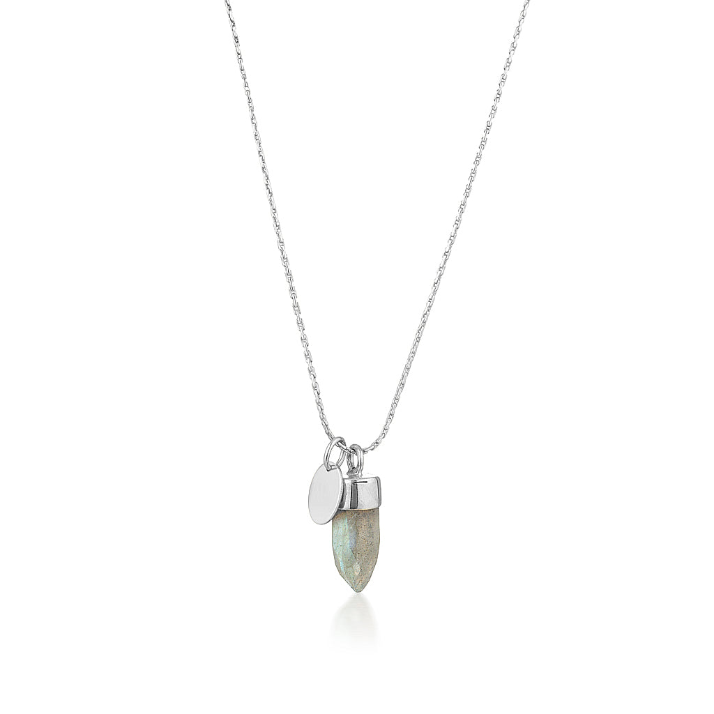 Stone And Tag Necklace Silver Labradorite