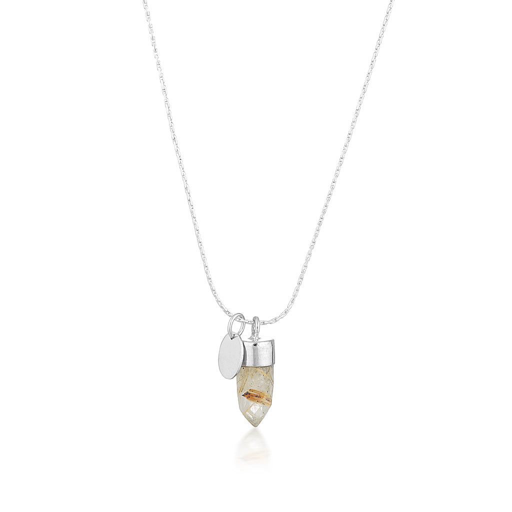 Stone And Tag Necklace Silver Rutile Quartz