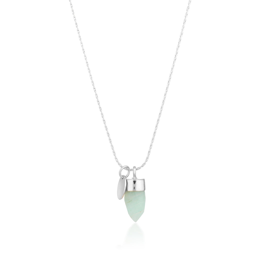 Stone And Tag Necklace Silver Amazonite