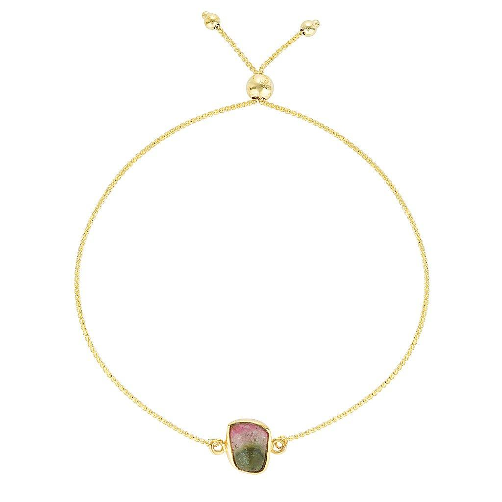 14k Watermelon Tourmaline Slice Bracelet
