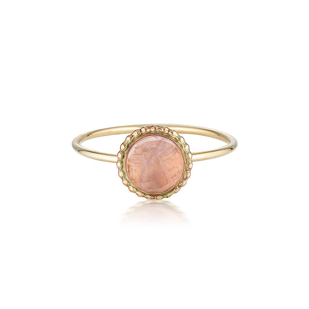 Rose Quartz Halo Ring