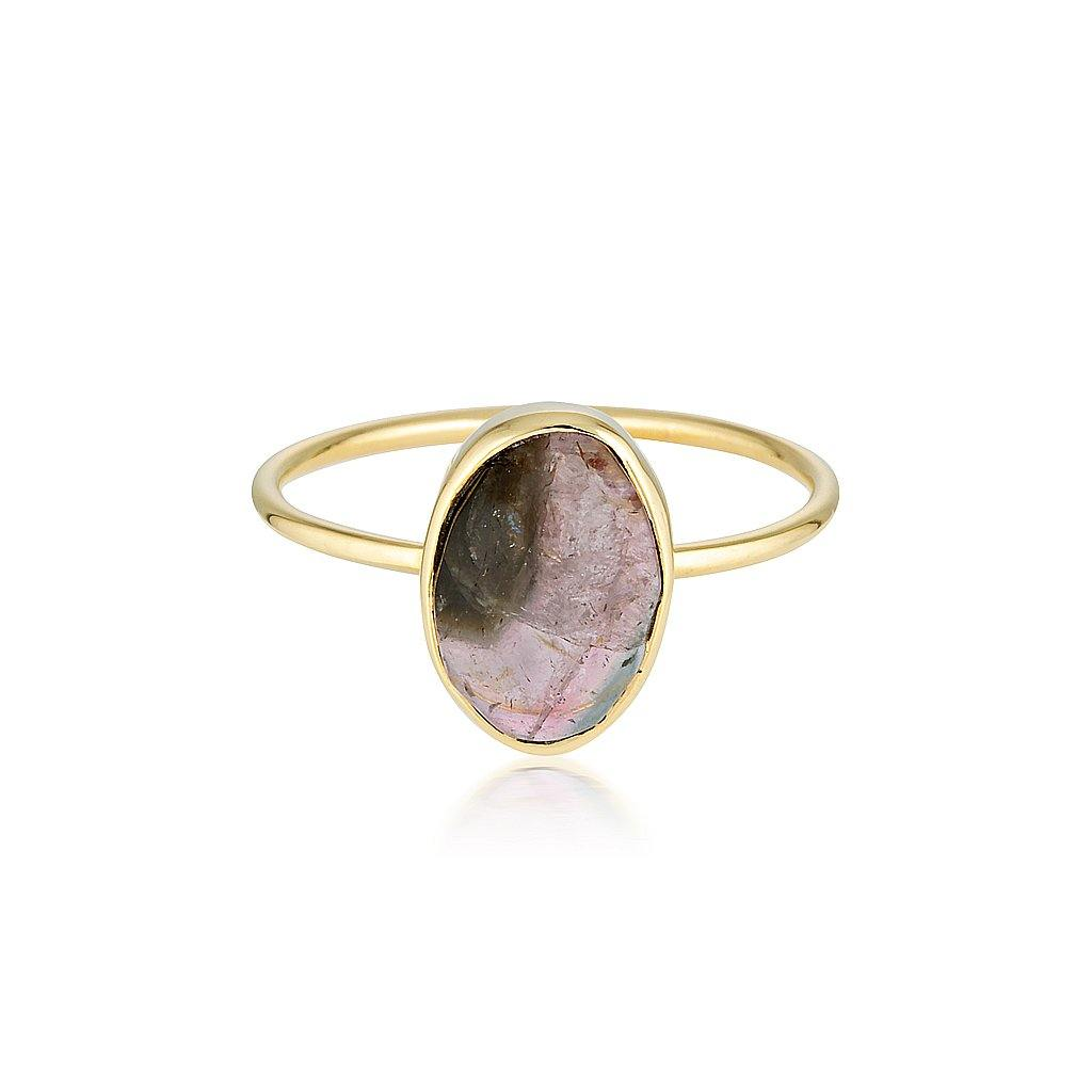 14k Watermelon Tourmaline Slice Ring - Zoe Alexandria Jewellery