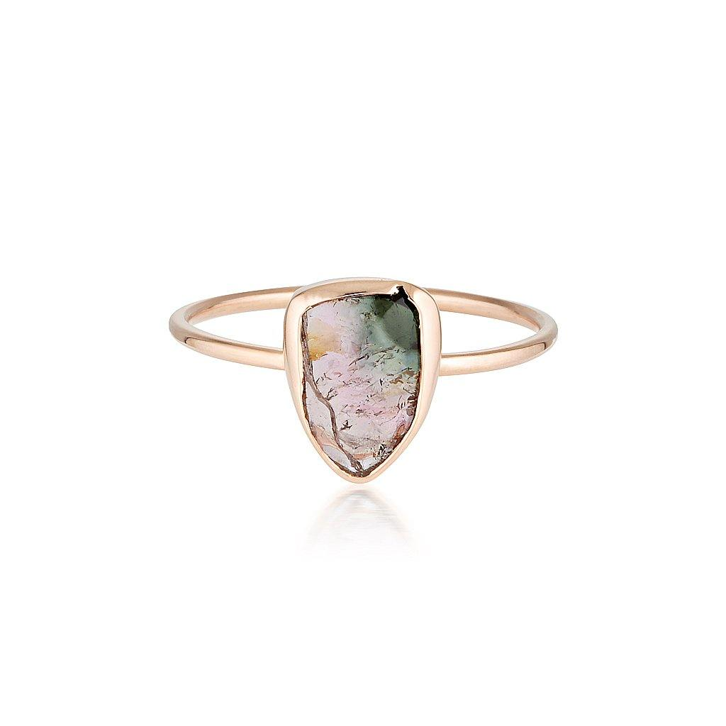 14k Watermelon Tourmaline Slice Ring - Rose Gold
