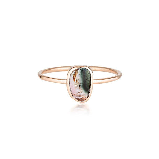 14k Watermelon Tourmaline Slice Ring - Rose Gold - Zoe Alexandria Jewellery
