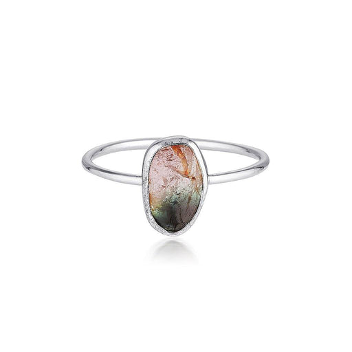 14k Watermelon Tourmaline Slice Ring - White Gold