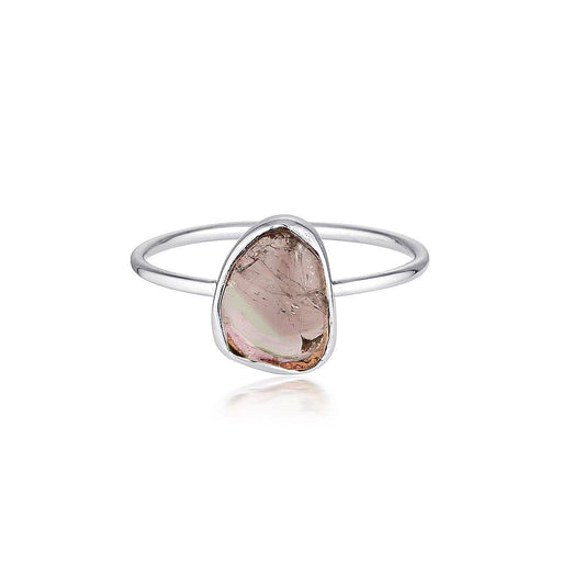 14k Watermelon Tourmaline Slice Ring - White Gold - Zoe Alexandria Jewellery