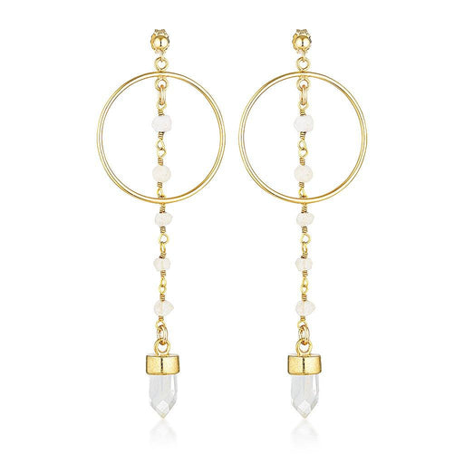 Jump Through Hoops Earrings v2.0 - Clear Quartz and Aqua