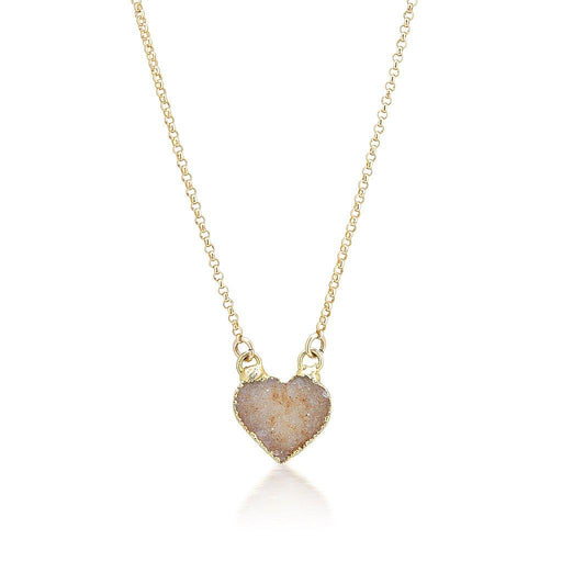 Druzy Quartz Heart Necklace