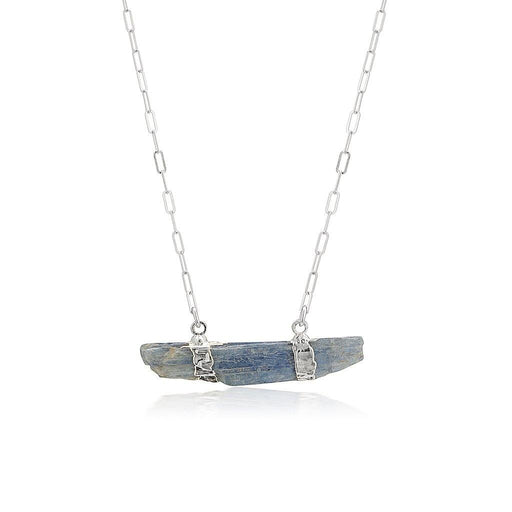 Blue Kyanite Bar Necklace - Silver