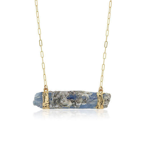 Blue Kyanite Bar Necklace - Gold
