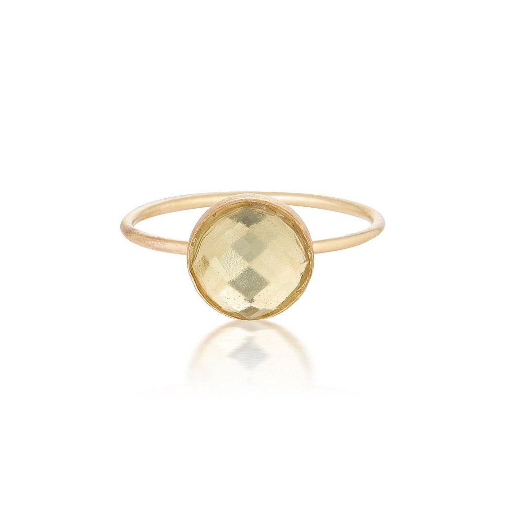 Rose Cut Green Quartz Ring - Gold