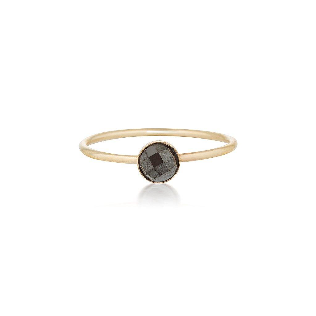 Mini Faceted Hematite Ring - Gold