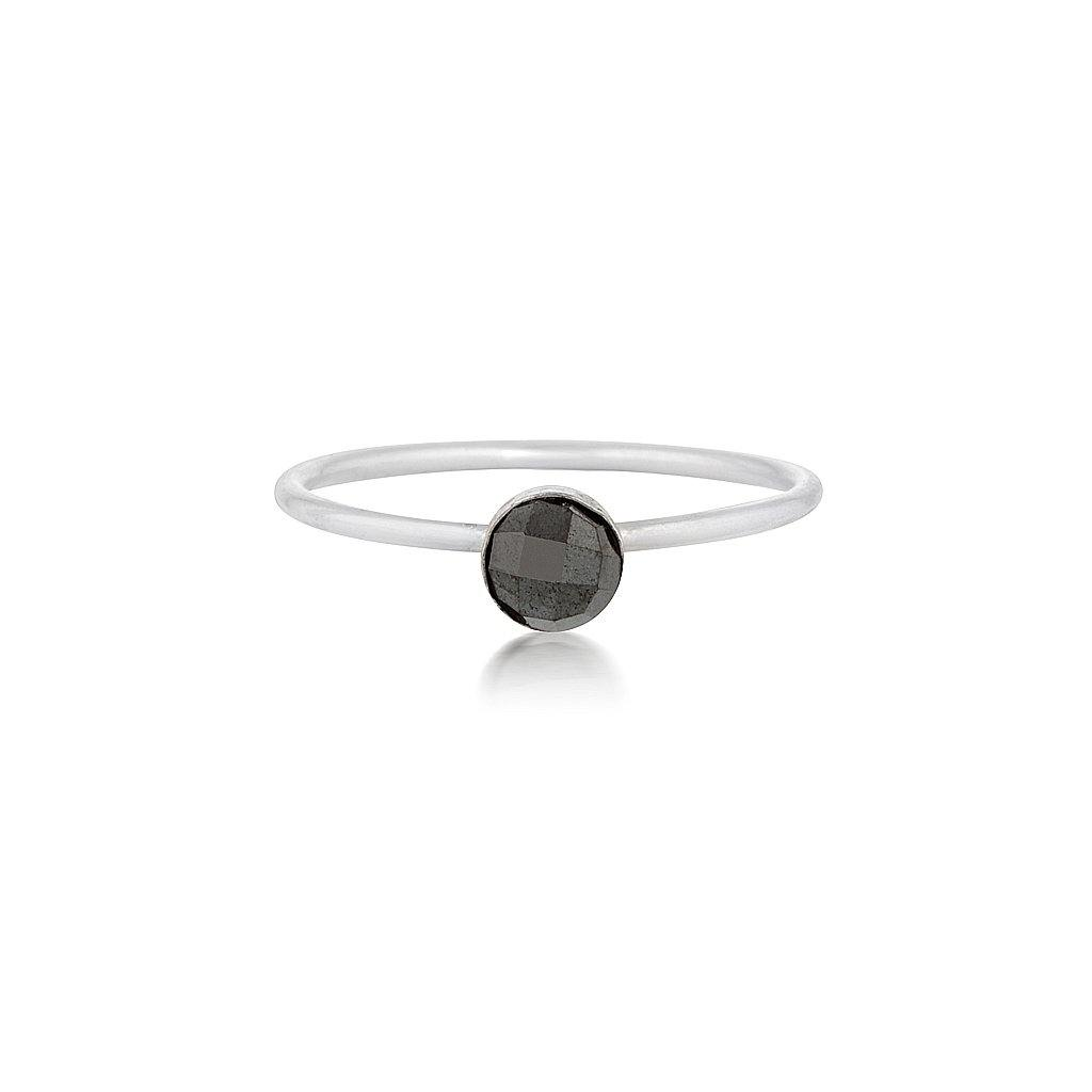 Mini Faceted Hematite Ring - Silver