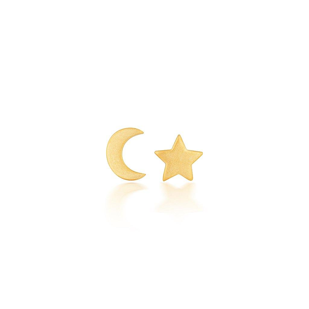 Gold Baby Moon and Star Earrings