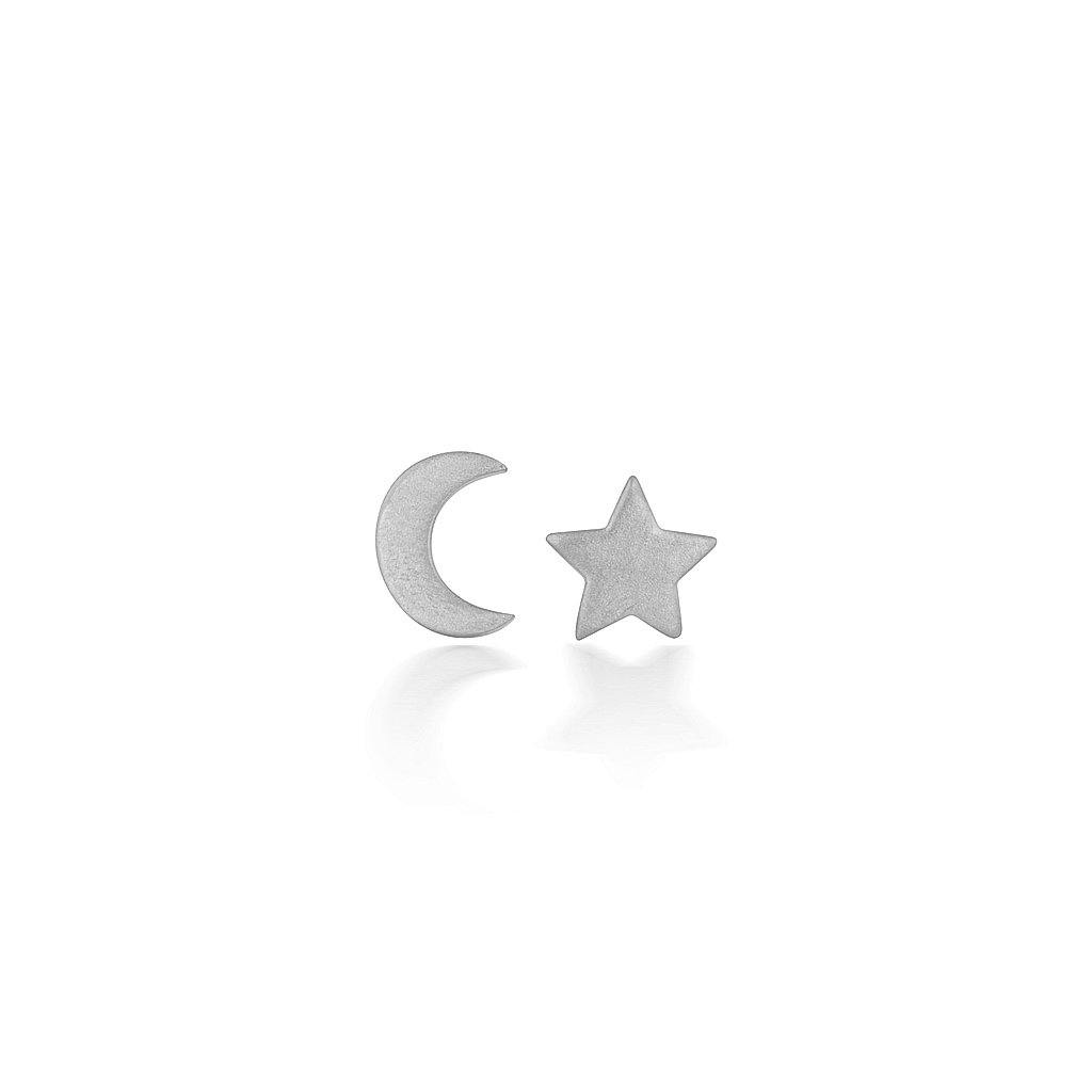 Silver Baby Moon and Star Earrings