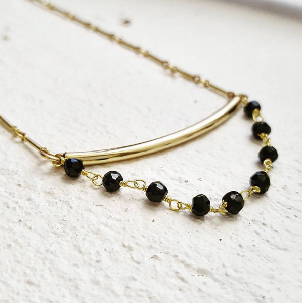 Gold Bar and Black Spinel Necklace