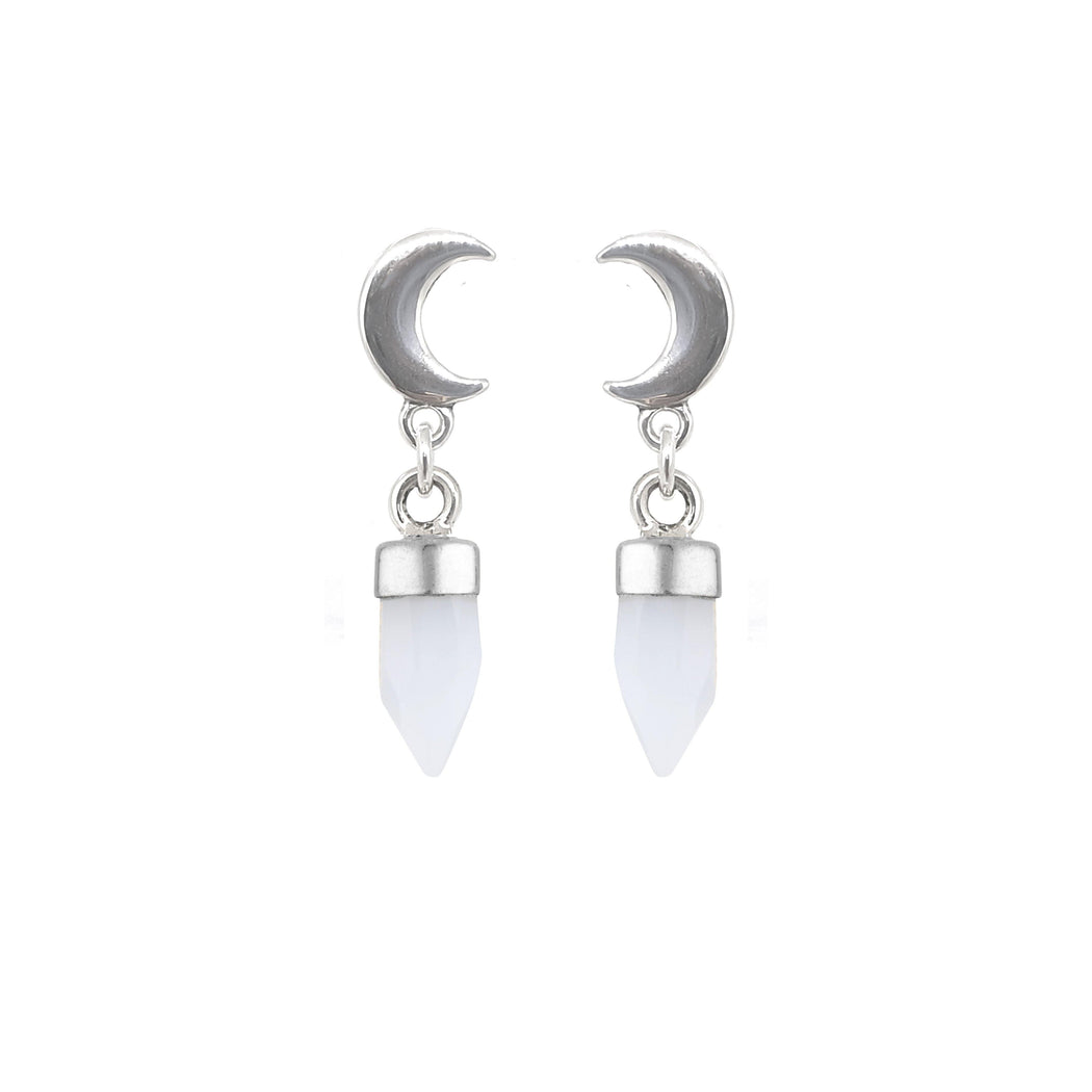 Crescent Moon Drops - Chalcedony
