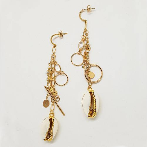 Bespoke Gold Cowrie Shell Statement Earrings
