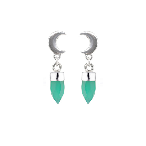 Crescent Moon Drops - Green Onyx