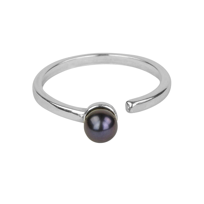 Single Black Pearl Open Ring