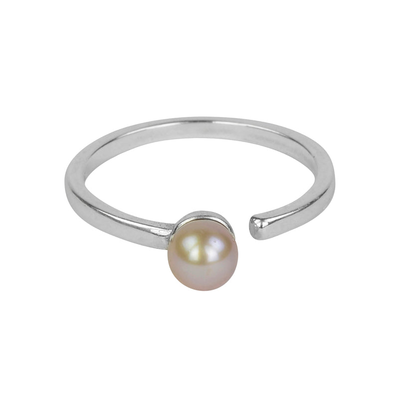 Single Pink Pearl Open Ring