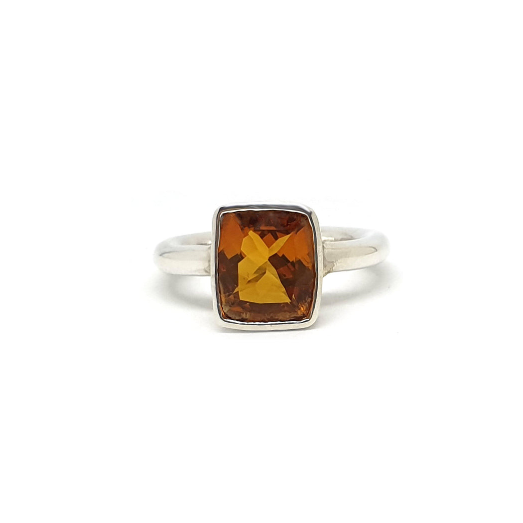 Silver Citrine Statement Ring - Large Rectangle