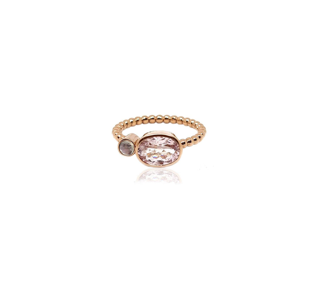 9k Rose Gold Morganite & Moonstone Ring