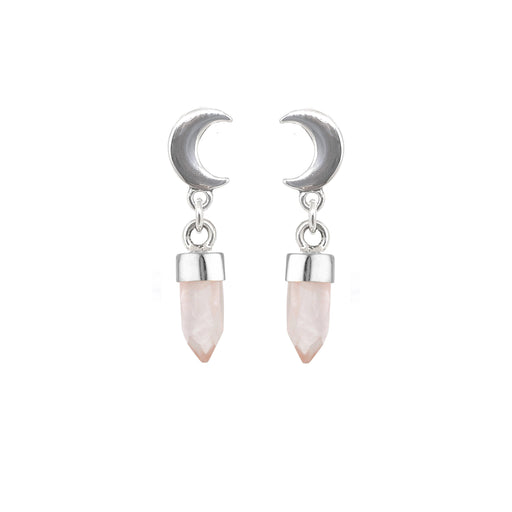 Crescent Moon Drops - Rose Quartz
