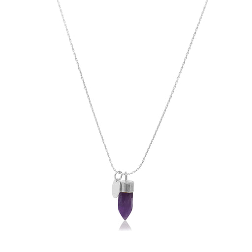 Stone And Tag Necklace Silver Amethyst