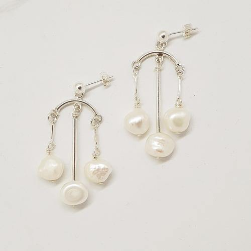 Bespoke Silver Pearl Chandelier Drop Earrings
