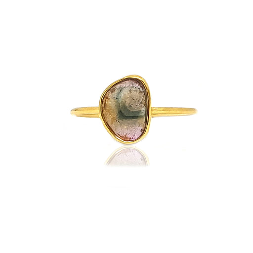 14k Watermelon Tourmaline Slice Ring