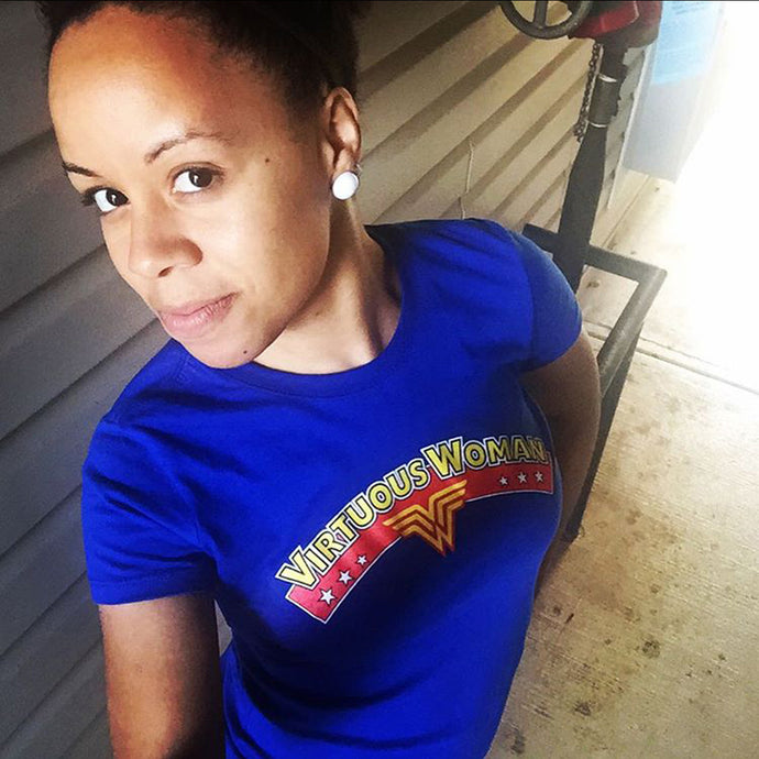Blue Virtuous Wonder Christian T-shirt by Virtuous Woman ® | model Antoinette Brazelton
