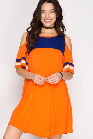 Game Day Cold Shoulder Dress - Orange/Navy